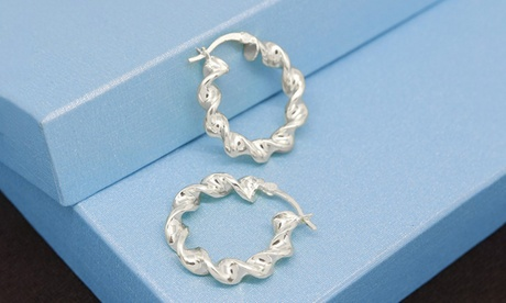 Italian Sterling Silver 25MM Twisted Hoop Earrings by Verona