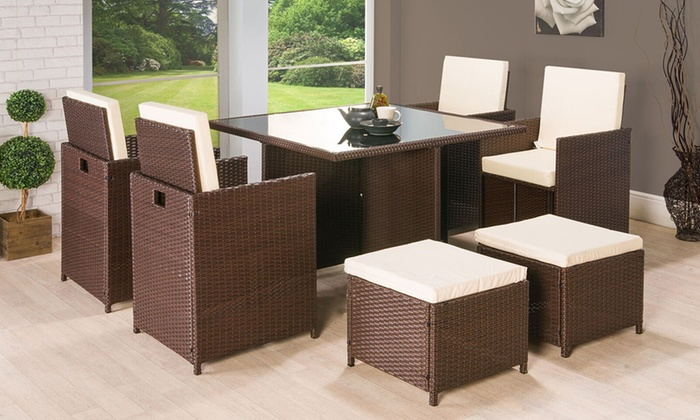 groupon goods global gmbh nine piece cube rattan effect garden furniture set for