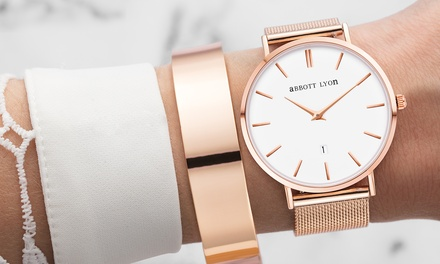 Abbott Lyon Silver  or Rose Gold Plated Kensington Watches With Free Delivery