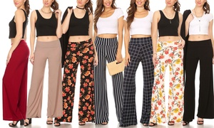 Nelly Women's Fold-Over Printed and Solid Wide-Leg Pants
