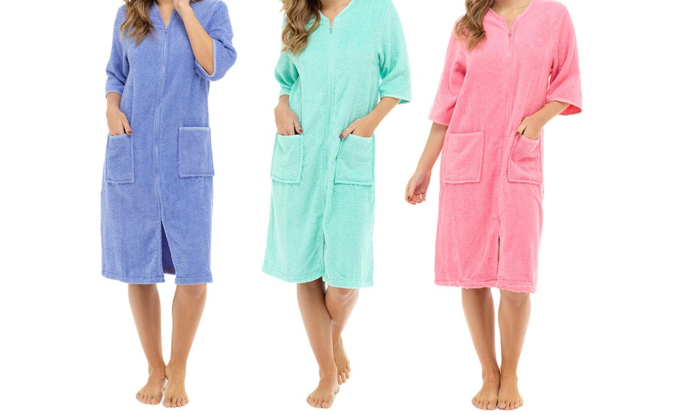 One or Two Women's Towel Zip-Through Robes
