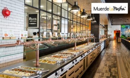 Buffet libre italomediterráneo con bebidas ilimitadas, isla de postres y café para 2 desde 9,90 € en Muerde la Pasta