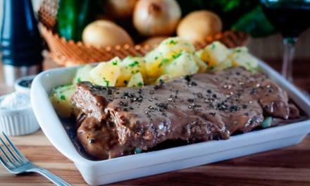 Filé mignon ao Poivre ou filé à francesa para 2 ou 4 pessoas (opção com vinho) o Restaurante Casarrara – Matatu