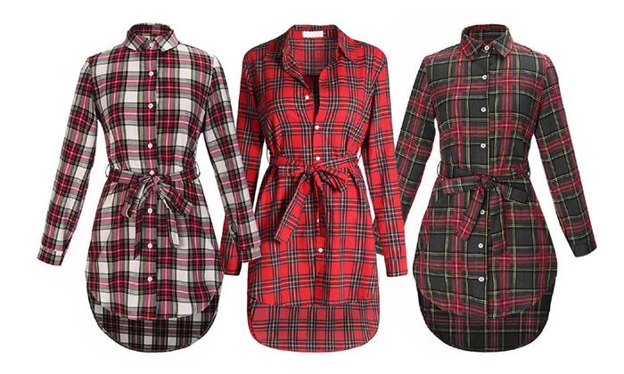 Vestido Corto Tipo Camisa Groupon Goods
