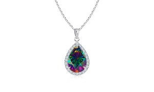 4.00 CTTW Rainbow Topaz Sterling Silver Necklace by Valencia Gems