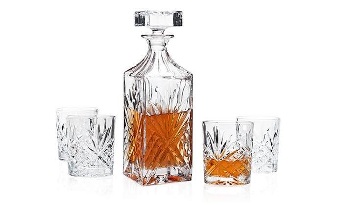 piece crystal whiskey decanter set ravenscroft engraved uk myer