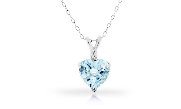 30 ctw aquamarine heart pendant groupon goods 300 ctw genuine diamond aquamarine heart pendant in sterling silver aloadofball Image collections