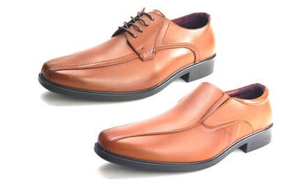 Men's Lace-Up Slip-On Tan Shoes