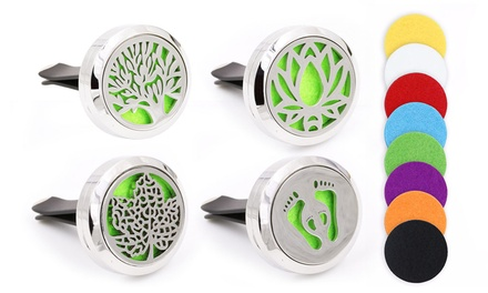 Two Aromatherapy Essential Oil Car Vent Diffusers with Felt Pad in Various Scents: Two $12.95 or Four $19.95