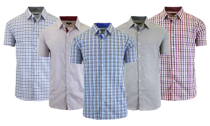 2df074063 Galaxy By Harvic Men's Short-Sleeve Slim-Fit Dress Shirts   Groupon