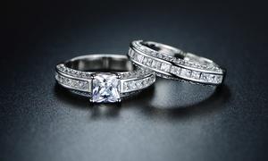 Princess-Cut Cubic Zirconia Engagement Ring Set By Barzel