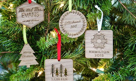 One, Two, or Three Personalized Wood Ornaments from The Plaid Barn (Up to 78% Off)