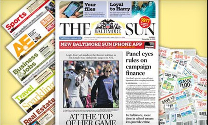 """The Baltimore Sun"": $10 for a 26-Week Weekend Subscription to ""The Baltimore Sun"" ($75.79 Value)"