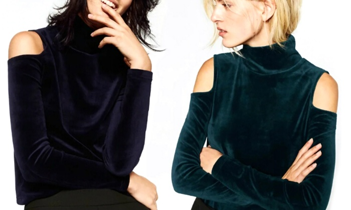 Mushaa - Merchandising (AE): One (AED 69), Two (AED 129) or Three (AED 179) Velvet Cold Shoulder Tops (Up to 69% Off)