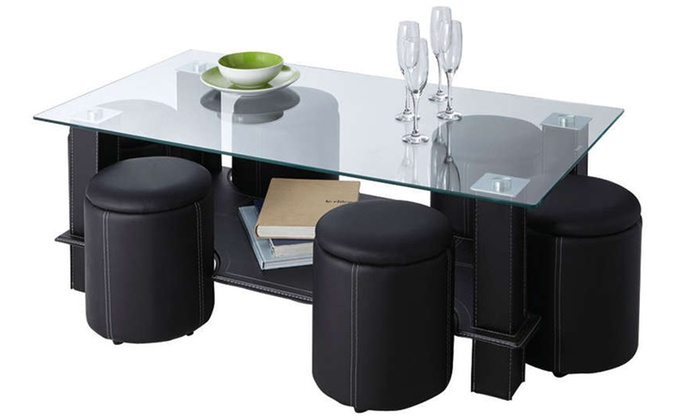 table basse et poufs encastrables. Black Bedroom Furniture Sets. Home Design Ideas