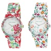 Laura Ashley Women's Floral Watch with Crystal Bezel