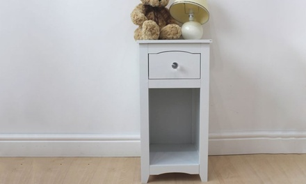 White Bedside Cabinets with Drawer and Shelf