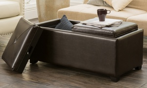 Kenwell 2-Tray-Top Storage Ottoman Coffee Table
