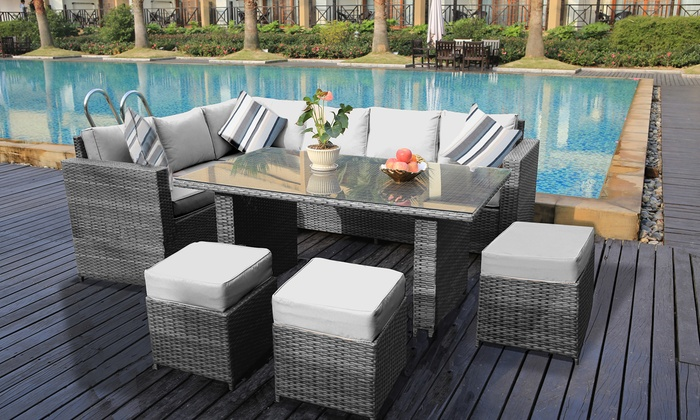 Groupon Goods Global GmbH: Rattan Effect Garden Furniture Eight Seater Corner  Sofa Set ...