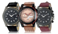 Men's Steeltime Faux Leather Watches
