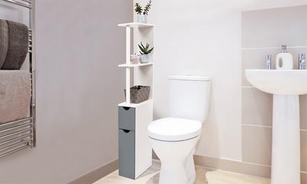 Mueble de baño de 118 cm de altura, con 2 puertas y 3 estantes