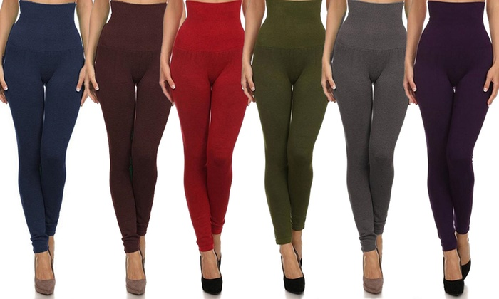 Women's High-Waist Slimming Compression Leggings (1-, 3-, or 6 ...