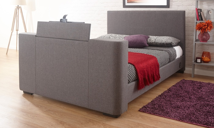 Double or King Size Newark Electric TV Fabric Bed with Optional Mattress from £405