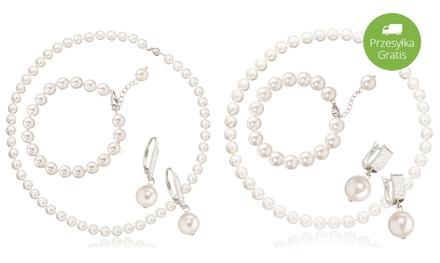 Od 99,99 zł: 3-częściowy zestaw biżuterii z białych pereł wykończony srebrem próby 925 (do -91%)