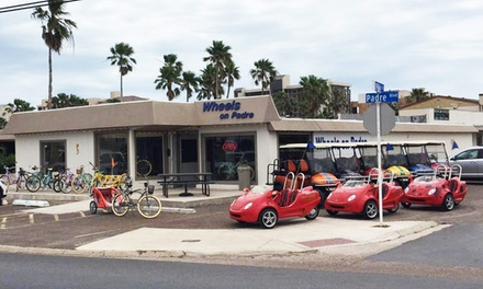 1-, 2-, 3-, 4-, 8-, or 24-Hour Golf Cart Rental for Up to Four from Wheels on Padre (53% Off)