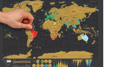 Unique World Travel Scratch-Off Visited Countries Map