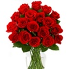 47% Off 18 Red Roses with Glass Ginger Vase