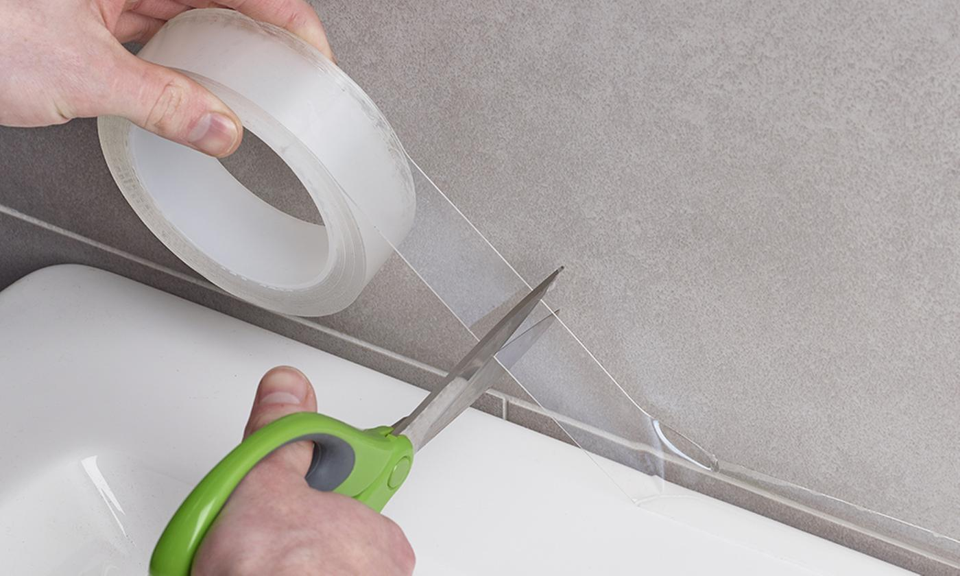 One, Two or Four Rolls of 5m Sink or Bath Waterproof Transparent Caulk Tape in Choice of Width