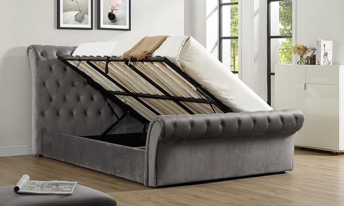 Cavendish grey velvet storage bed groupon for Beds groupon