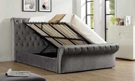 cavendish grey velvet storage bed