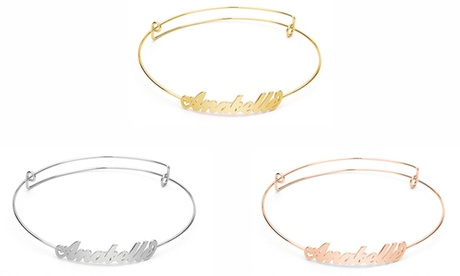 One, Two, or Three Personalized Carrie Style Adjustable Name Bangle Bracelets from Jewellshouse (Up to 95% Off)