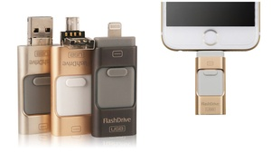 3-in-1 High-Speed Sliding Flash Drive for iPhone, Android, and More