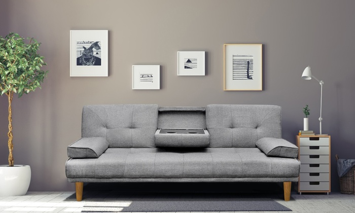 From 299 For A Three Seater Sofa Bed In Linen Look Fabric With Cup Holders