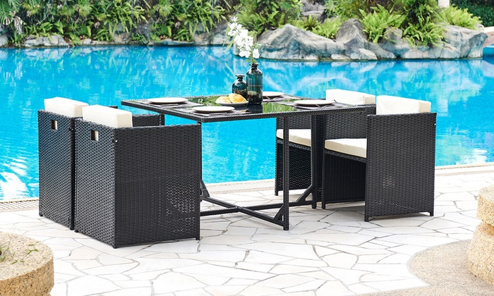 Sienna Five-Piece Rattan-Effect Cube Garden Furniture Set with Optional Cover