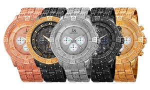 Joshua & Sons Men's Multifunction Crystal Studded Bracelet