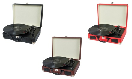 Retro-Style Turntable Record Player Briefcase for £49.99 With...
