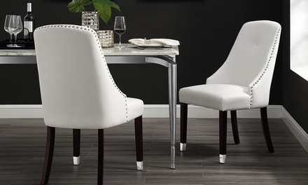 Inspired Home Leather PU or Velvet Dining Chair Set (2-Piece)