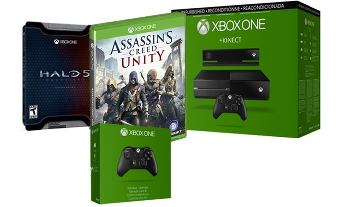 Xbox one 500gb with 2 controllers kinect and 2 games mfr refurb sciox Images