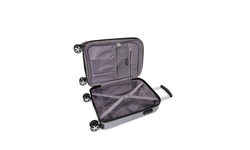 Swissgear Hard Sided Spinner Carry On Luggage With Built In Cupholder Groupon