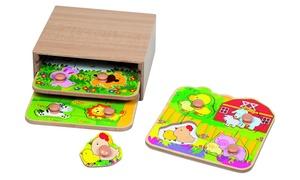 Casier en bois avec 3 puzzles