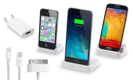 Dock de carga para iPhone o Samsung + cable de 3 metros con opción a adaptador