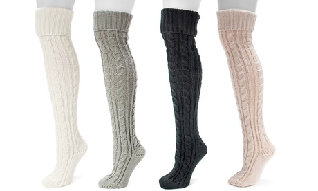 Muk Luks Women's Over-the-Knee Cable Socks 0ababa84-c0ac-11e7-995a-00259060b5da