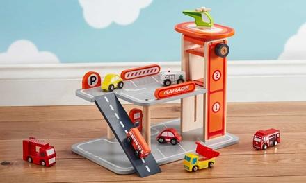 Speelset met houten parkeergarage en auto's