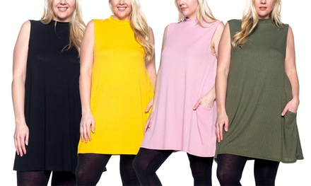Step Up Women's Plus-Size Mock-Neck Top with Pockets