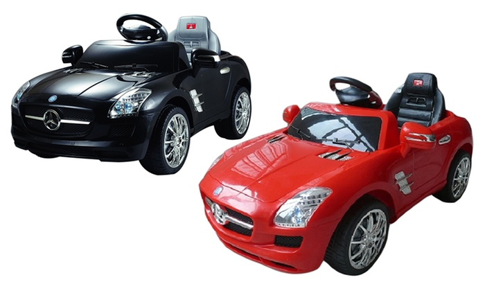 Kids 39 mercedes benz sls 6v ride on car livingsocial for Mercedes benz toddler car