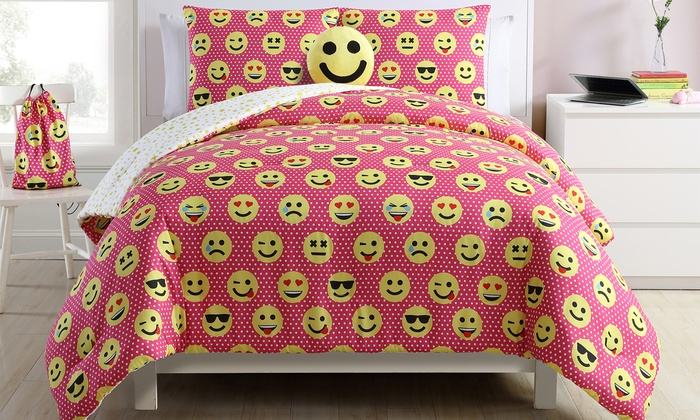 Emoji Comforter Set With Matching Backpack 5 Piece Groupon
